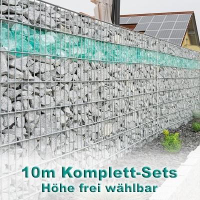 Gabionenzaun-Set 8-6-8 feuerverzinkt 10m