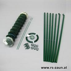 Zaunset Rundpfosten Maschendraht grün 30X30X2,4mm 10m