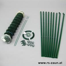 Spar-Zaunset Rundpfosten 34mm, Maschendraht grün 50 x 50 x 2,5mm/15m