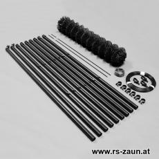 Zaunset Rundpfosten Maschendraht schwarz 60X60X2,8mm 15m