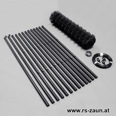 Zaunset Rundpfosten Maschendraht schwarz 60X60X2,8mm 25m