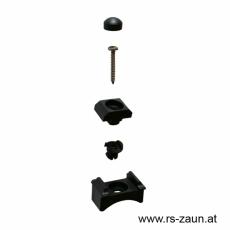 Klemmhalter schwarz  für Rundpfosten 42mm