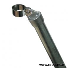 Zaunstrebe Ø 38mm verzinkt Alukappe mit Schelle 48mm