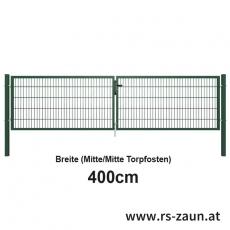 Doppelstabmatten-Doppeltor fvz. + pulverbeschichtet grün 4000mm Breite