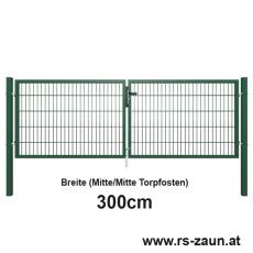 Doppelstabmatten-Doppeltor fvz. + pulverbeschichtet grün 3000mm Breite