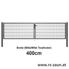 Doppelstabmatten-Doppeltor fvz. + pulverbeschichtet anthr. 4000mm Breite
