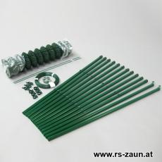 Profi-Zaunset Rundpfosten 48mm Maschendraht grün 50 x 50 x 2,5mm/15m